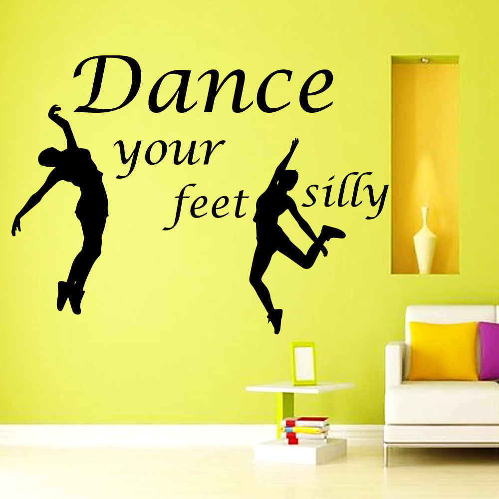 Wall Decal Quote Dance Your Feet Silly Decal Sport Gym Vinyl Sticker ...