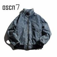 OSCN7 Stand Collar Denim Bomber Jacket Parka Men Old School Retro Thick Warm Oversize Parka Men