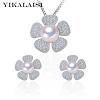 2016 100 Genuine Natural Freshwater Pearl Pendant And Earrings For Women 925 Sterling Silver Zircon Jewelry