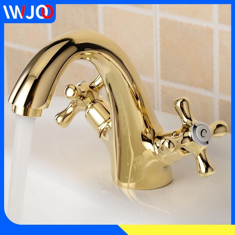 Кран для ванной комнаты, золотой Латунный современный для раковины, смеситель, двойная ручка, кран для раковины, на бортике, с одним отверсти...