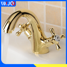 цена на Bathroom Faucet Gold Brass Modern Basin Faucet Mixer Double Handle Sink Faucet Deck Mounted Single Hole Hot and Cold Water Tap