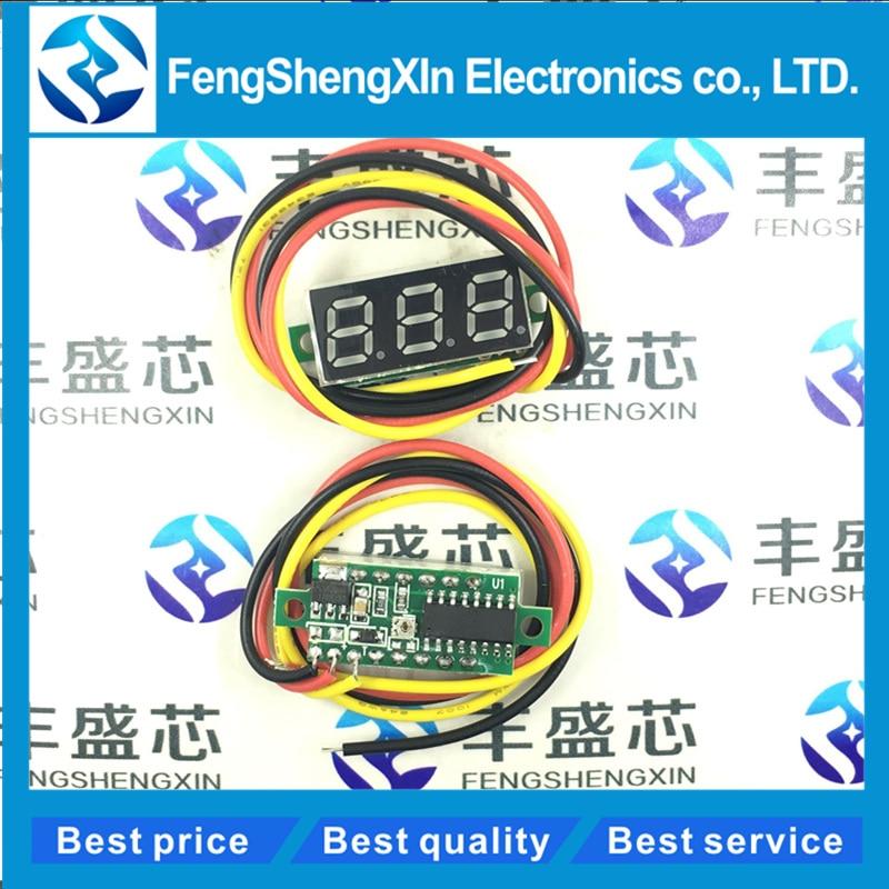 Three Line Precision DC Digital Voltmeter Head LED Digital Voltmeter DC4.5V-30V 0.28 Inch Mini Digital Voltmeter DC:0-100V