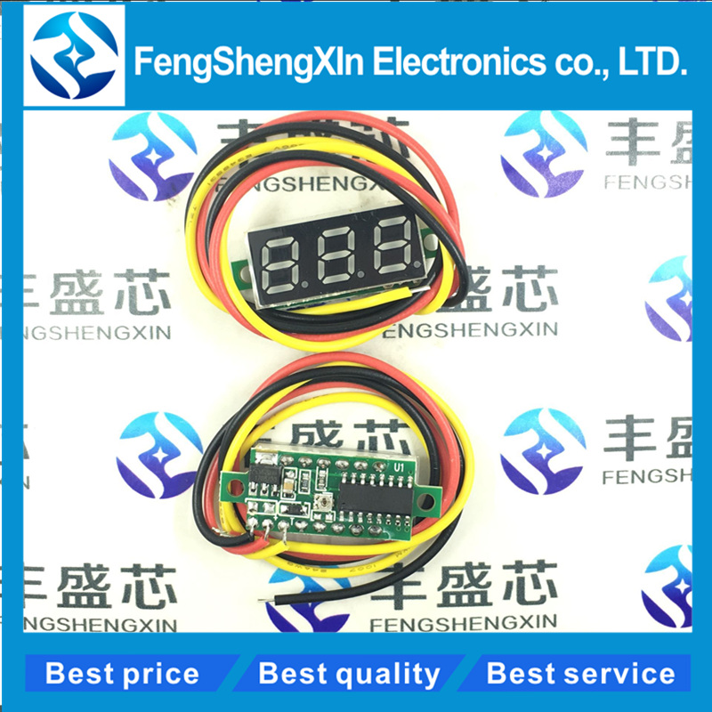Three Line Precision DC Digital Voltmeter Head LED Digital Voltmeter DC4.5V-30V 0.28 Inch Mini Digital Voltmeter DC:0-100V