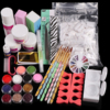 Nail Art Acrylic Powder Liquid Glue Glitter Dust Brush Tweezer Primer Rhinestones False Tips Buffer Manicure