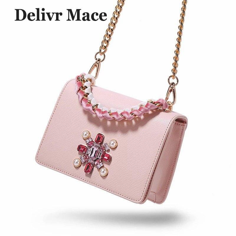 Ladies Handbags Women Famous-Brand Beading Cross-Body-Bags Pink Female Split