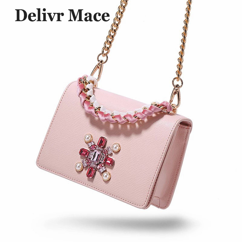 Bags For Women 2018 Famous Brand Beading Pink Split Leather Female Cross Body Bags Woman Crossbody Shoulder Bags Ladies Handbags-in Shoulder Bags from Luggage & Bags    1