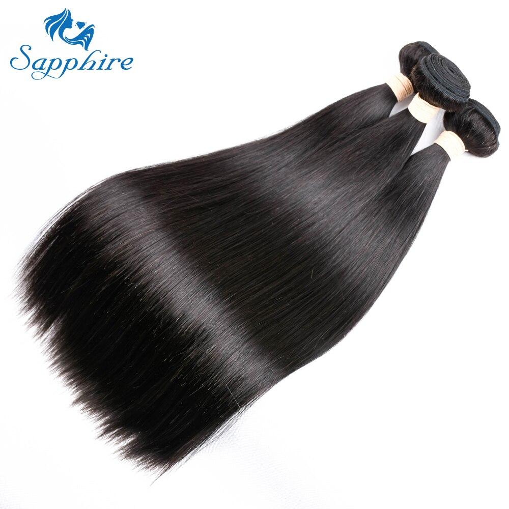 Sapphire Straight Remy Human Hair Bundles Med 360 Snörning Frontal - Barbershop - Foto 3