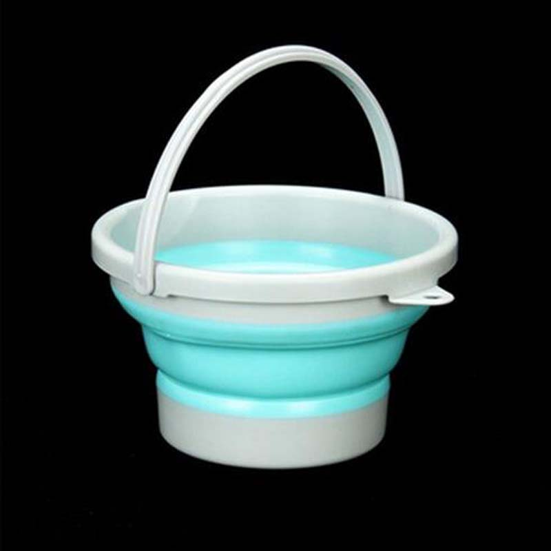 Camping Folding Storage Bucket Outdoor Barrel with Handle Green
