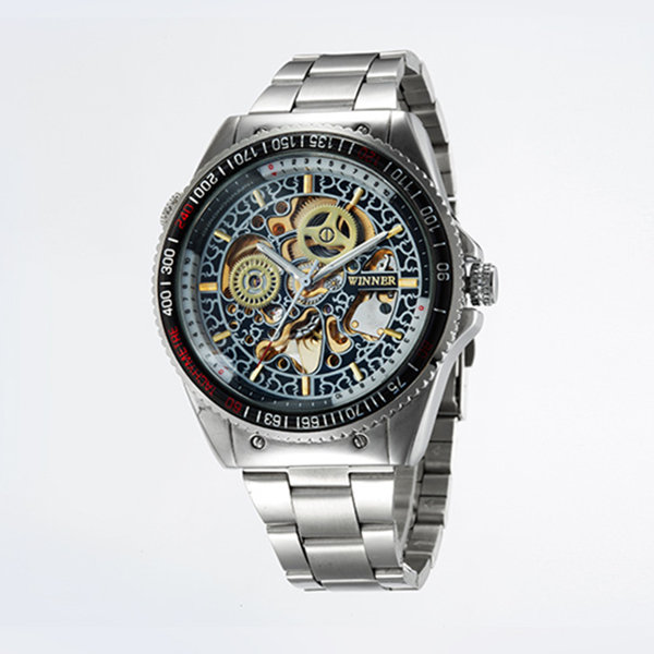 TOP BRAND WINNER Men Manual wind Luxury Stainess Steel Watch Skeleton men s Mechanical wristwatch Relogio