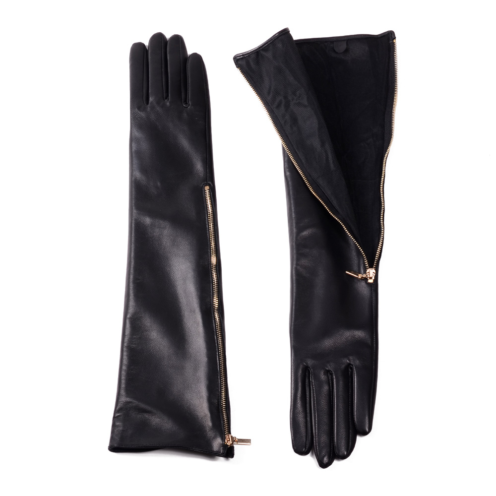 30cm-80cm New Women's Ladies Real Leather Side Zipper Overlength Gloves Evening Gloves Party Evening Long Gloves