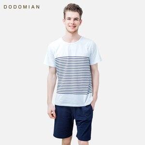Image 2 - Пижама Мужская с круглым вырезом, хлопок, короткая Пижама, комплект из 2 предметов, мягкая удобная домашняя одежда, на лето