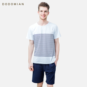 Image 2 - 男性パジャマ綿ラウンド襟パジャマスーツ 2 個夏ストライプパジャマセットソフトで快適な Pijamas ホームウェア
