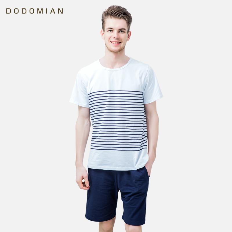 Men   Pajamas   Cotton Round Collar Men Short Sleepwear Suits 2 Pieces Summer Striped   Pajamas     Sets   Soft Comfortable Pijamas Homewear