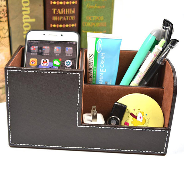 leather office. Multifunctional 3 Grids Desk Pen Holder Fashion PU Leather Office Storage Box Stationery Cosmetic Organizer Case Container