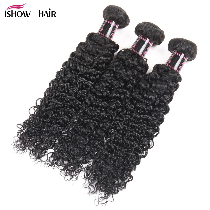 Brazilian Kinky Curly Hair 3 Bundles 100 Human Hair Weave Bundles Ishow Hair Products Natural Color