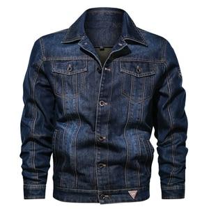 Image 3 - Мужская джинсовая куртка с отложным воротником и вышивкой, повседневные мужские джинсовые куртки с множеством карманов, ковбойские куртки, Bigig, Размер 6XL, весна осень