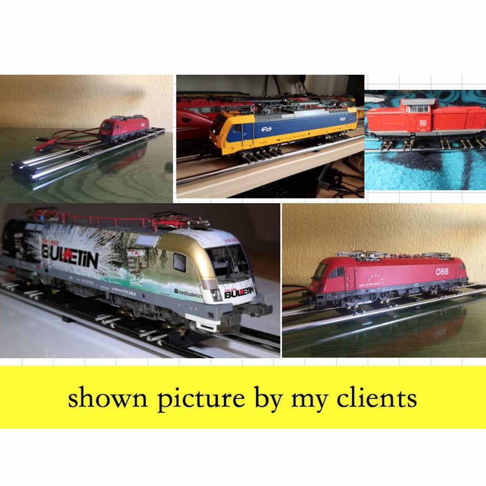 1: 87 Модель Railway HO Масштаб Поезд гонщиков Стандартный трек роликовый испытательный стенд с 6 тележками поезд беговая дорожка подшипник
