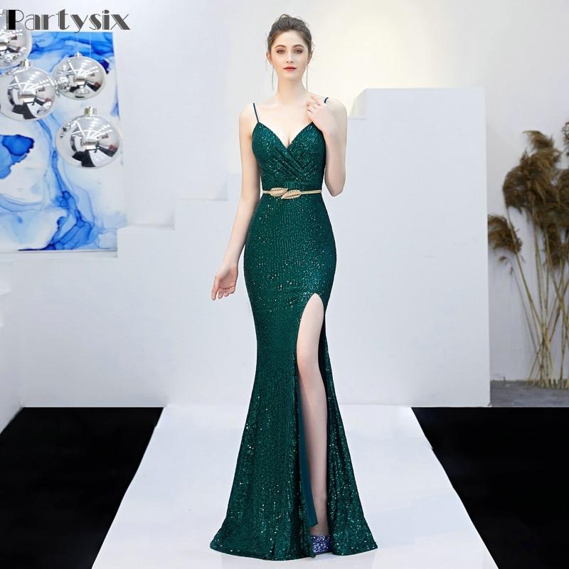 Partysix Sexy fendue longue soirée robe sangle paillettes robe vert/noir/marine/or/rouge