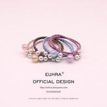EUHRA 4 Colors Elastic Six Pearl Opal For Women Hair Band Kid Children Rubber High Elasticity