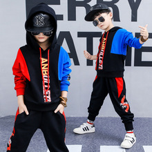 Children's clothing spring new boy suit long-sleeved cotton hooded stitching trend hip hop sweater + pants цены