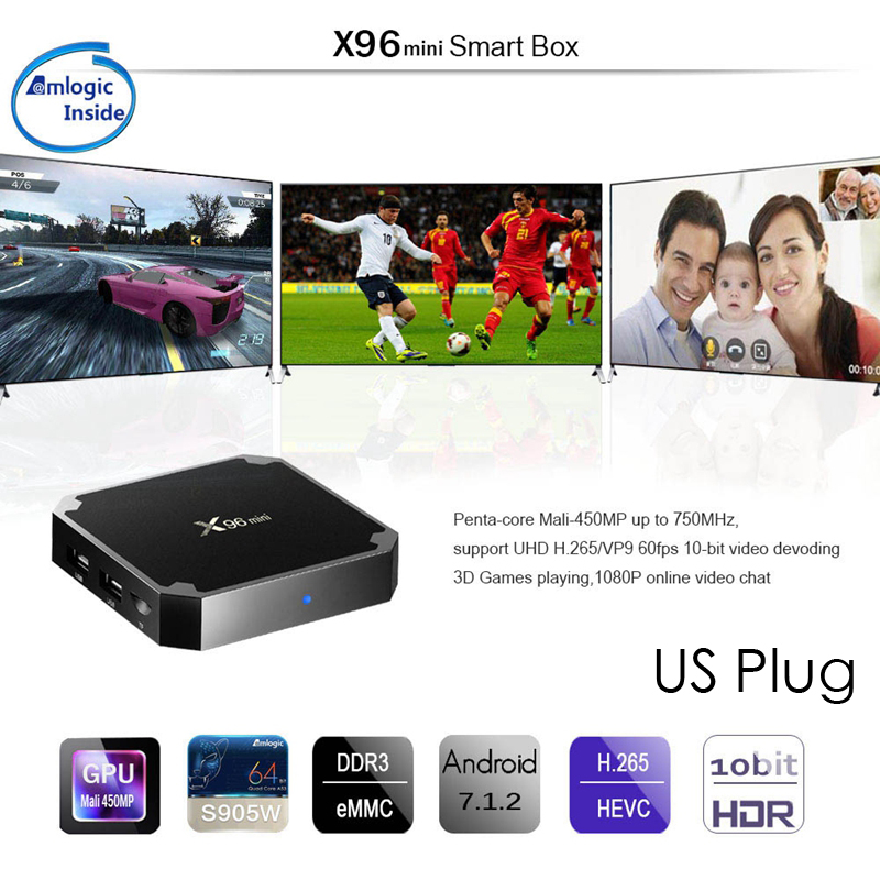 HOT-X96 Mini 4K TV Box Android 7.1.2 Internet Media Player 2.4GHz WiFi 16G With the US plug