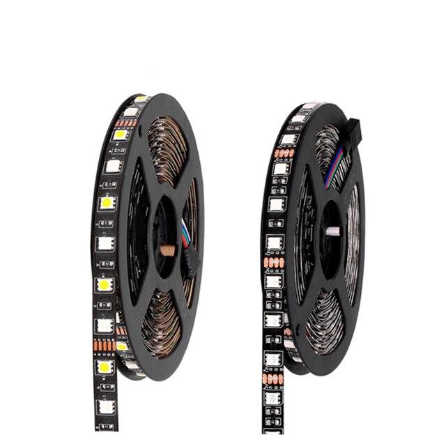 Black PCB SMD 5050 Ribbon Led Strip Rgb Waterproof Tira Led Strips Light  El Wire Car Diode Tape 12v Neon Lights Ruban Ambilight