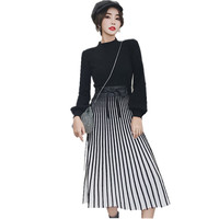 New Women Kntting Stand Collar Pleated Party Dress Fall Winter Black Patchwork Striped Long Sleeve Thicken Warm Sweater Dress