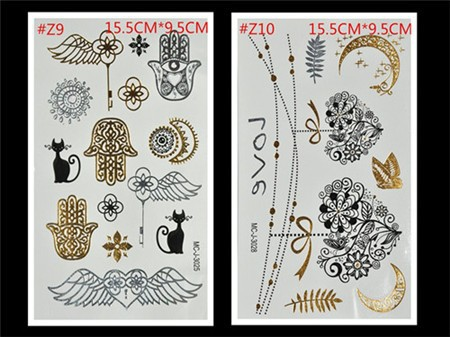 Free Shopping Sex Products Temporary Tattoo For Man And Women Waterproof Stickers makeup make up Flash Gold Tattoo 14