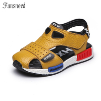 2017genuine Leather Male Child Toe Cap Covering Sandals Child Sandals Cowhide Children Baby Toddler Shoes Children