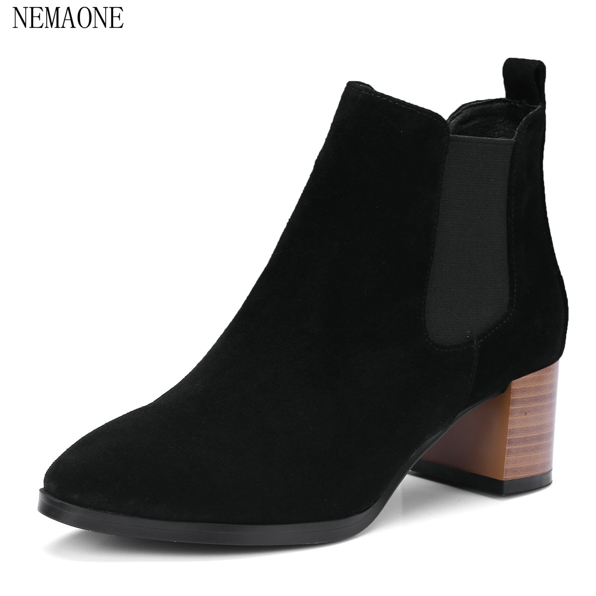 NEMAONE Genuine Leather Boots Square Heels Autumn Winter Ankle Boots Sexy Martin Fur Snow Boots Shoes Woman Size 34-40 new high quality genuine leather boots rivets square heels autumn winter ankle boots sexy fur snow boots shoes woman size
