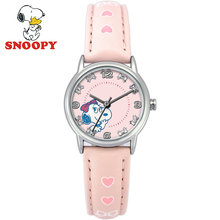 Snoopy Kids Watch Children Watch Casual Fashion Cute Quartz Wristwatches Girls Water Resistant Leather Watchband clock