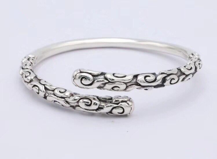 SOQMO Real Solid 999 Sterling Silver Adjustable 4mm Vintage Buddha Open Cuff Bracelet Bangle Men Women Punk Handmade Men Jewelry soqmo men women bracelet 100