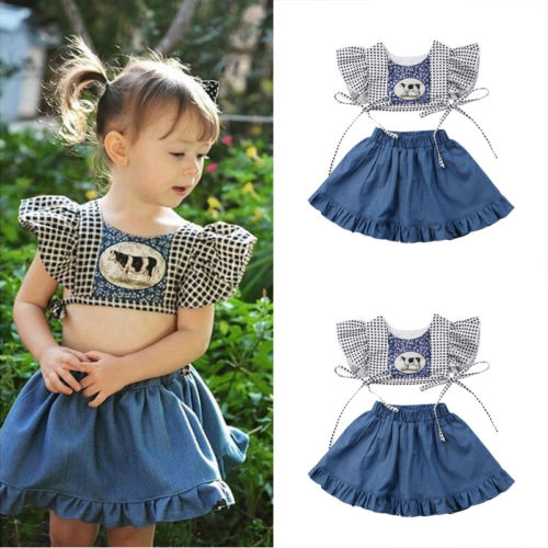 2018 New Toddled Kid Baby Girl Party Outfit Cow Print Fly Sleeve Short Top Denim Skirts Summer Sundress Outfit 0-24 M