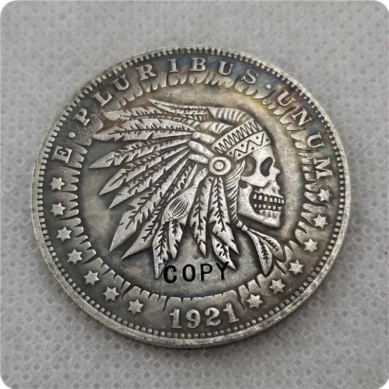 US Hobo 1921 морганский доллар, Череп, Скелет Зомби, креативная монета, прессованная копия монет