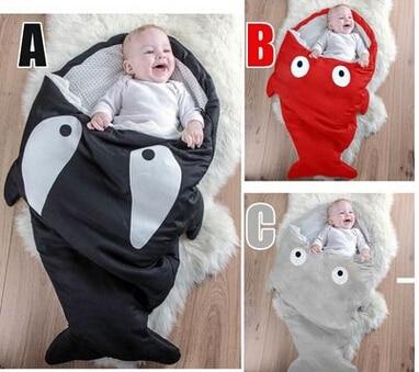 Мультфильм акула одеяла новорожденных зимний коляски кровать пеленать одеяло обертывание симпатичные постельных принадлежностей