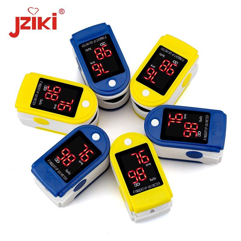 SpO2 JZIKI led Dedo Oxímetro de pulso de Oxigênio No Sangue medidor de pressão Arterial Monitor de Saturação Oxímetro oximetria de auxiliar de Alarme