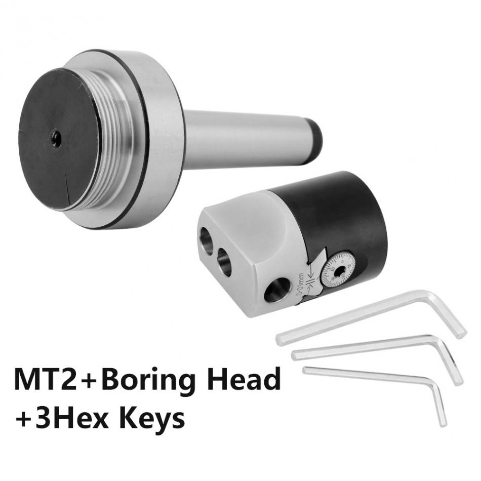 50mm 2 Inch Lathe Boring Head Taper Collet Chuck Milling Holder for MT2 Shank 3 Hex Keys Milling Tool Hand Tools Set new mt3 m12 taper collet chuck milling arbor adapter 2inch lathe boring head