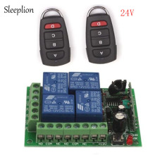 лучшая цена Sleeplion 24V 4CH Channel Relay RF Wireless Remote Control Switch 2 Transmitter+Receiver ON/OFF