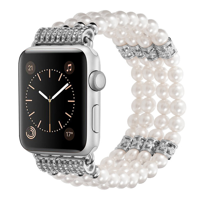 cd1a4507de6f Bracelet Strap for Apple Watch Band 38mm 42mm Series 1 2 3 Luxury Women  Jewelry Pearl Watchband Agate Gem Straps for iwatch 2018