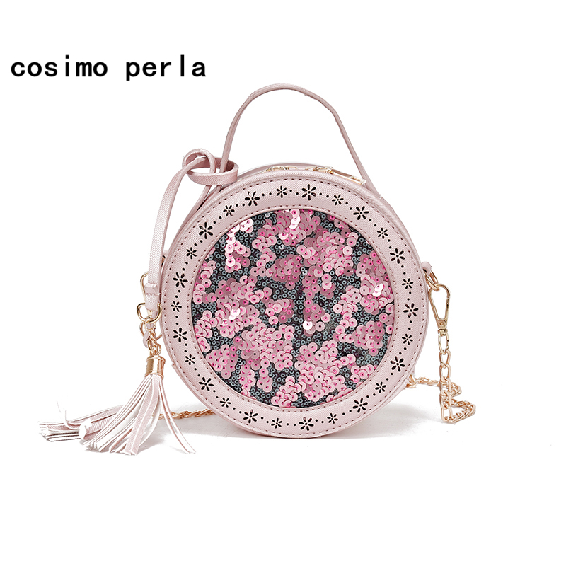 Pink Purse Crossbody Bag for Women Sequins Bling Tassel Chain Leather Shoulder Bags Circular Flap Lady Small Round Handbags 2018 цена