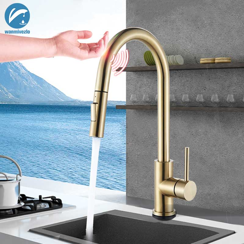 brass brushed gold kitchen faucet 360