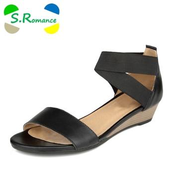 S.Romance Plus Size 34-42 Women Sandals Genuine Leather Fashion Summer Sweet Flats Sandals Casual Woman Shoes Black Beige SS036