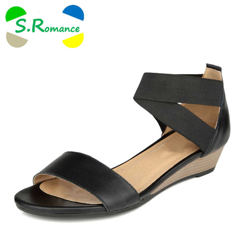 S.Romance Plus Size 34-42 Women Sandals Genuine Leather Fashion Summer Sweet  Flats cb3721c6ba94