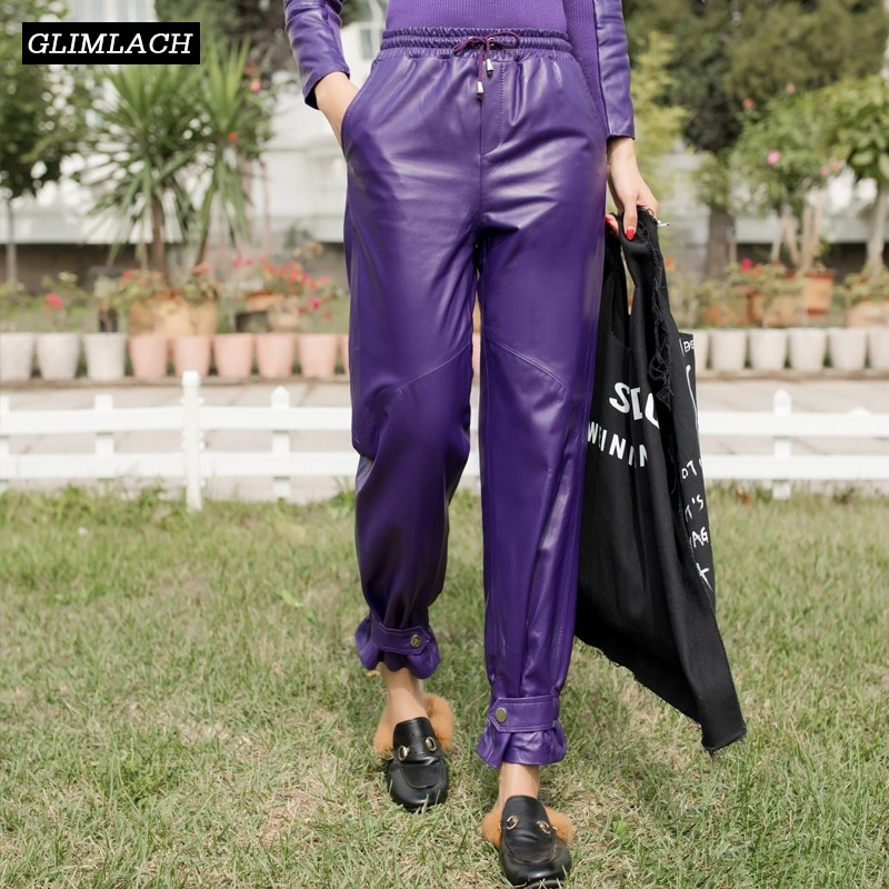 2019 Buckle Pencil Pants Women Genuine Leather Loose Sheepskin Ankle-Length Harem Pants Drawstring Elastic Waist Lady Trousers