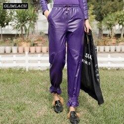2019 Buckle Pencil Pants Women Genuine Leather Loose Sheepskin Ankle-Length Harem Pants Drawstring Elastic Waist Lady Trousers