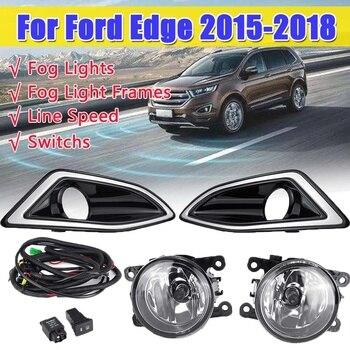 12V Car Headlight Assembly Left & Right LED Fog Light Lamp for Ford for Edge 2015 2016 2017 2018 w/Fog Light Bezel Frame