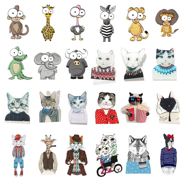 aebc88248afe 1 PC Cartoon Cartoon Animals Badges for Clothes Icons on The Backpack  Decoration Pin Badge Acrylic