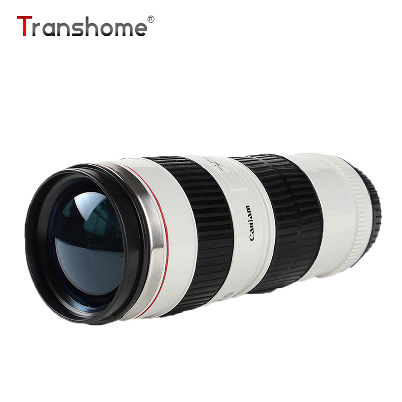 Transhome Camera Lens Mug Creative Stainless Steel Thermos Mug Coffee Cup Portable Vacuum Flask Mugs For Tea Travel Coffee Cup