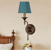 Vintage Lampada Da Parete A LED Per La Casa Camera Da Letto Illuminazione, Led Riparo Della Parete della Pittura del Metallo con Un Panno Ombra, E14 Lampadina incluso AC 90 V ~ 260 V