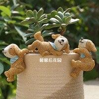 Garden Office Decorative Resin Bib Little Bear Grass Flower Pot Brown